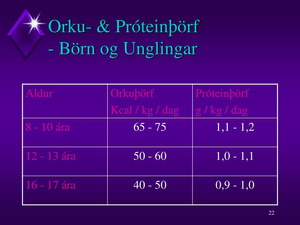 Orku- & Próteinþörf