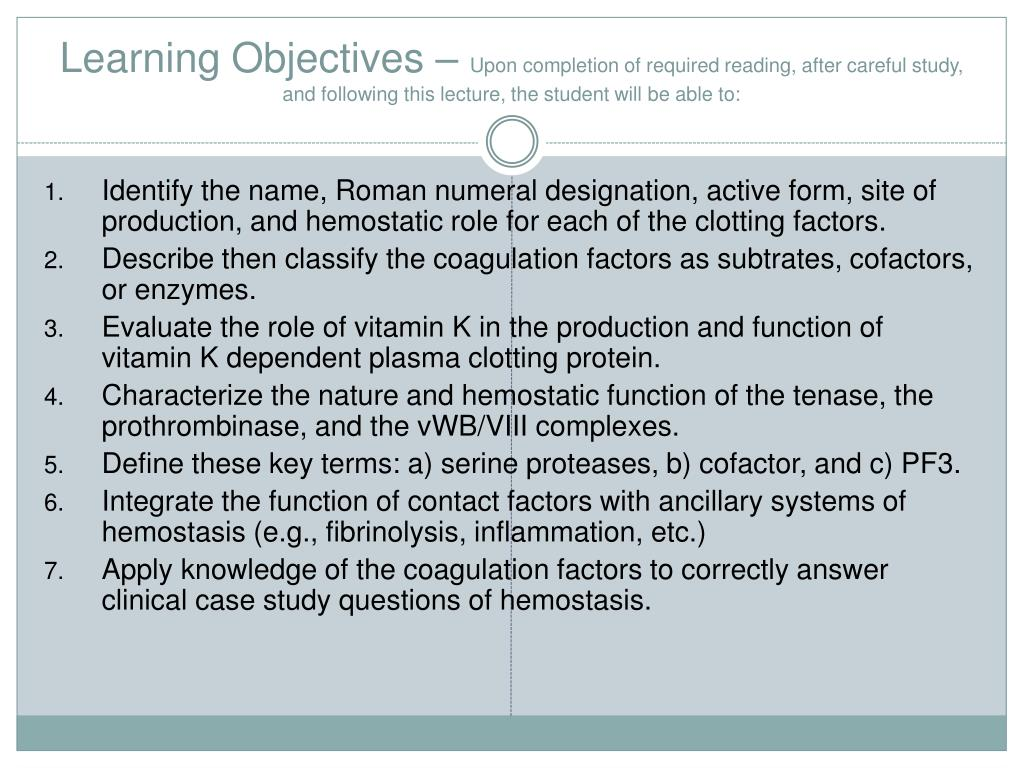Learning Objectives –