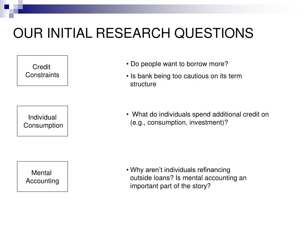 OUR INITIAL RESEARCH QUESTIONS