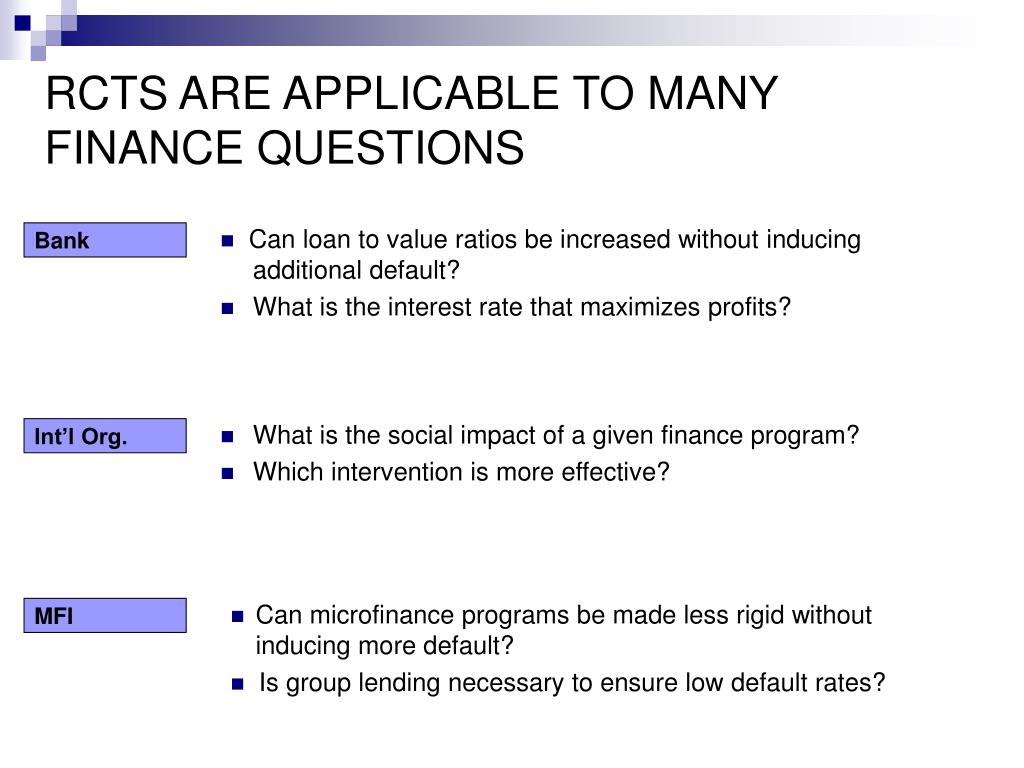 RCTS ARE APPLICABLE TO MANY FINANCE QUESTIONS