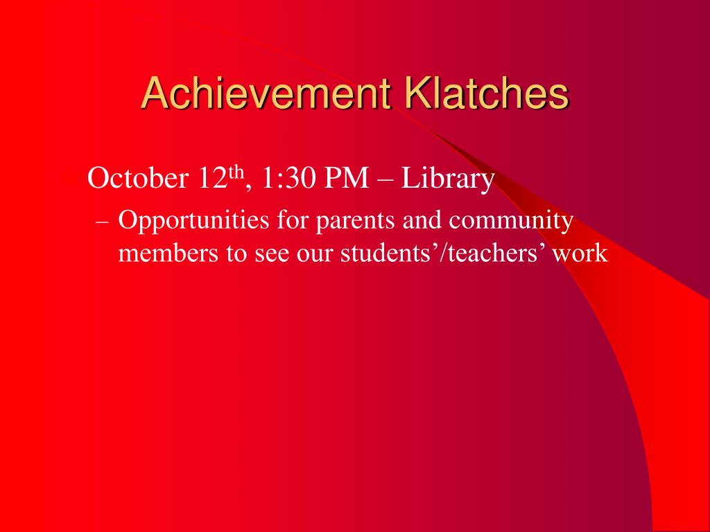 Achievement Klatches