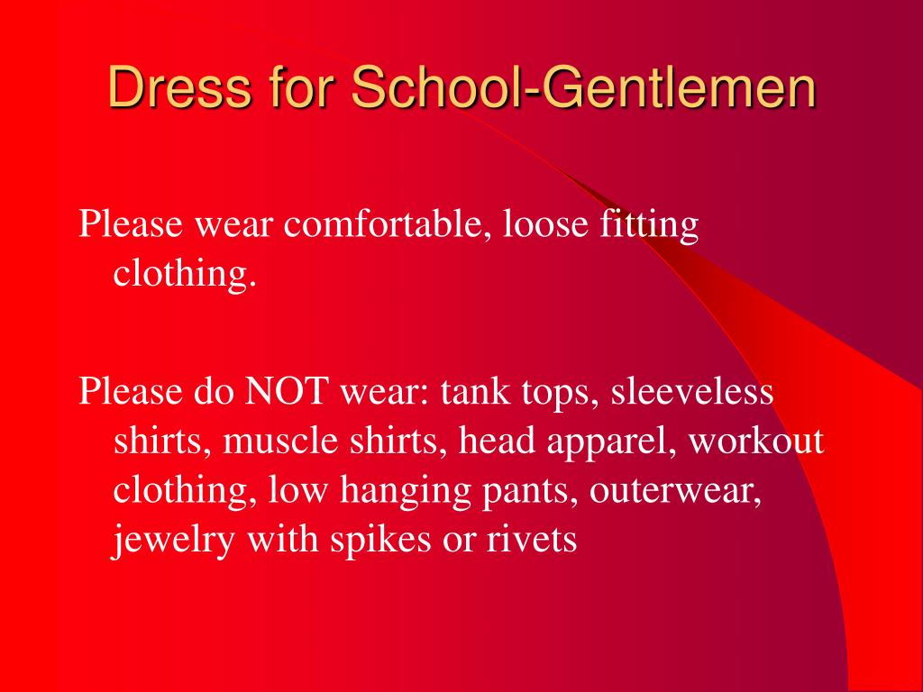 Dress for School-Gentlemen