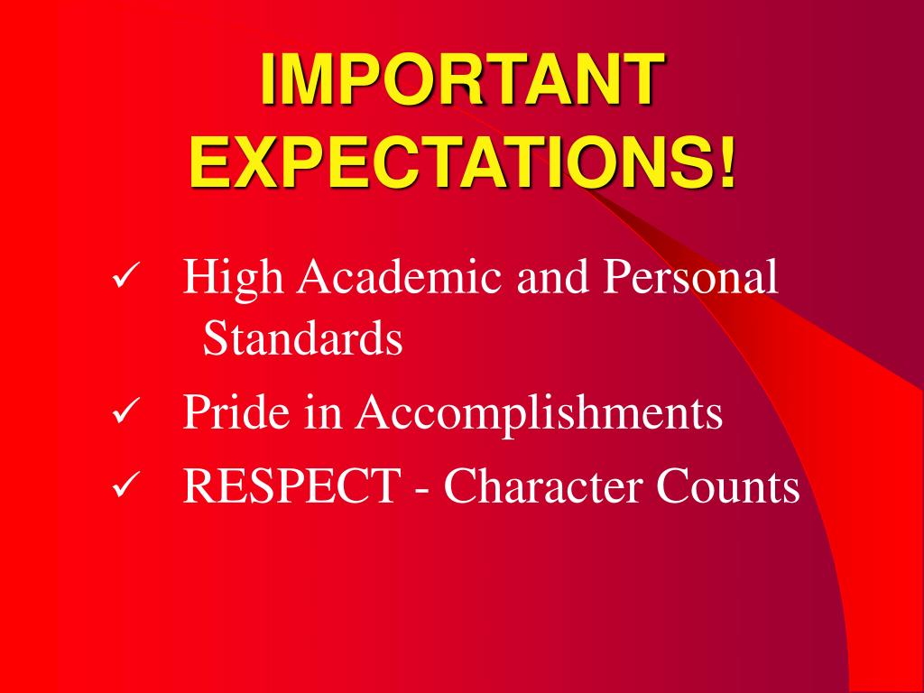 IMPORTANT EXPECTATIONS!