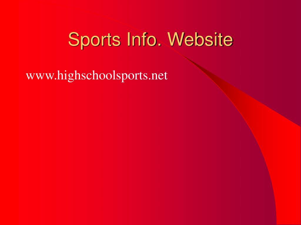 Sports Info. Website