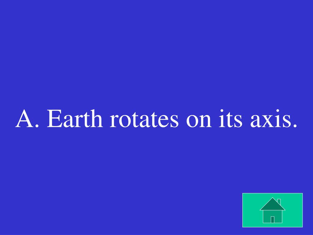 A. Earth rotates on its axis.