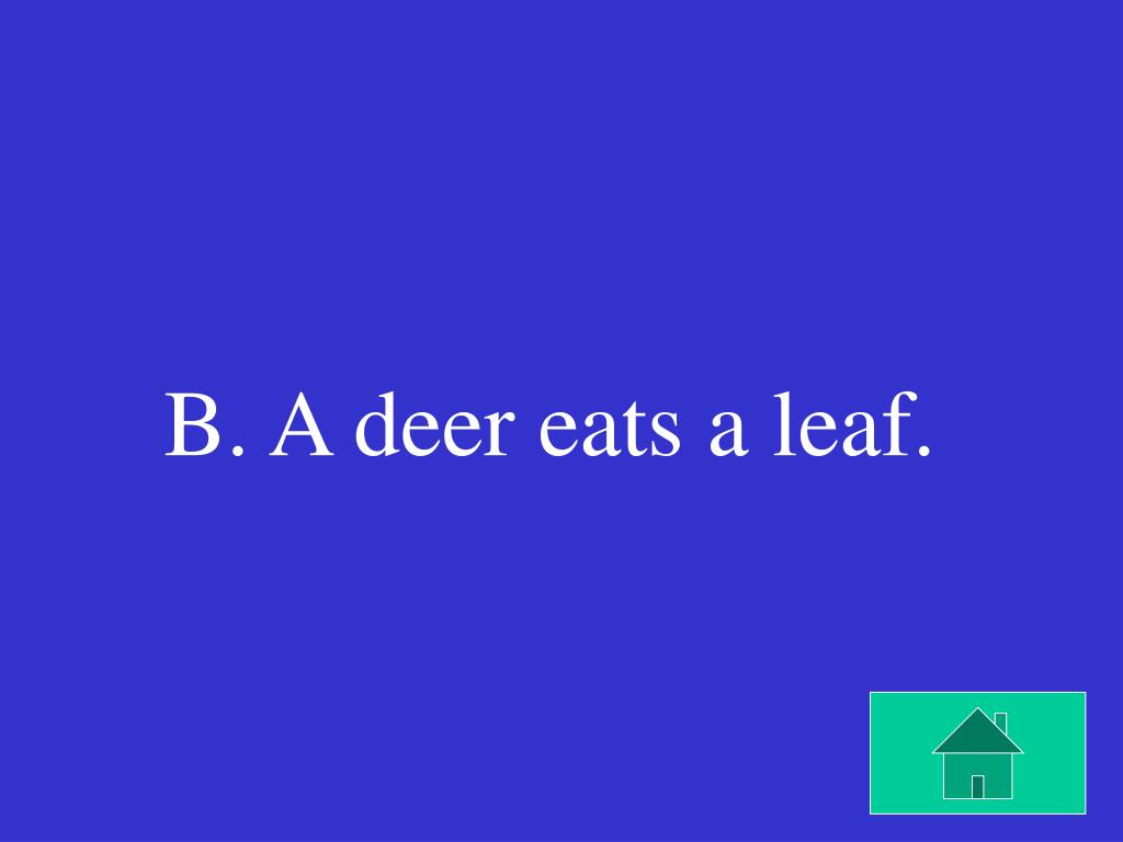 B. A deer eats a leaf.