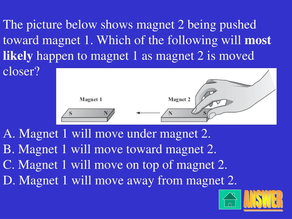 The picture below shows magnet 2 being pushed toward magnet 1. Which of the following will
