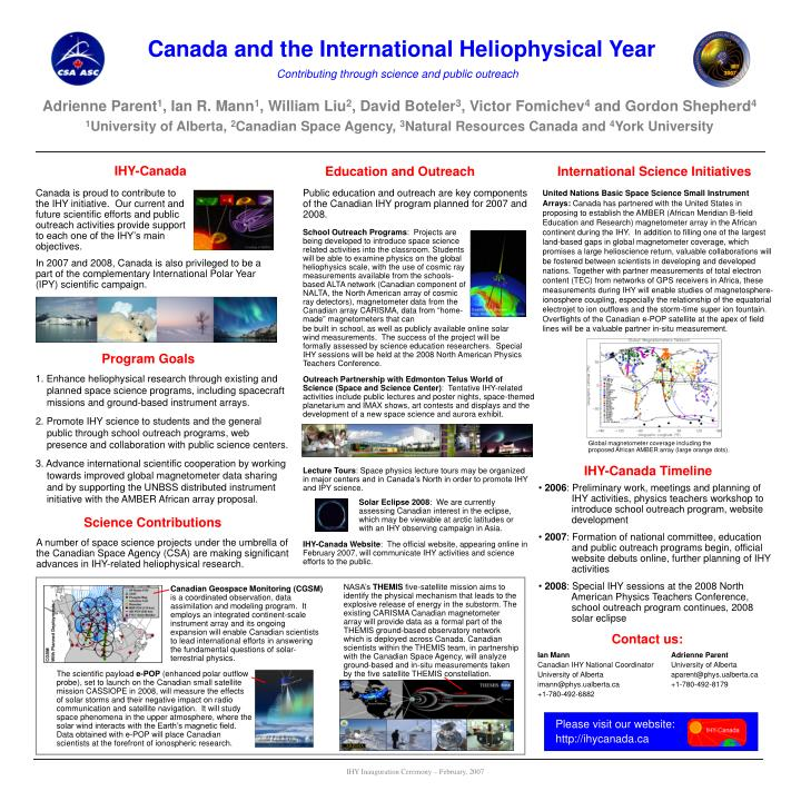 Canada and the International Heliophysical Year