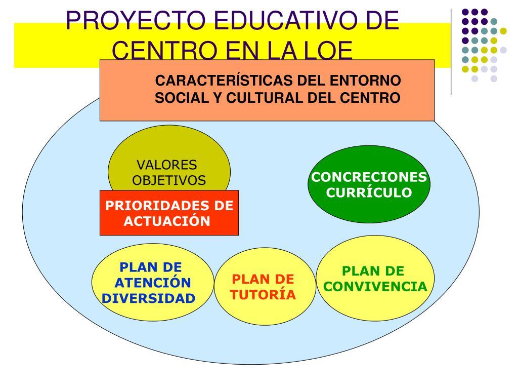 PROYECTO EDUCATIVO DE CENTRO EN LA LOE