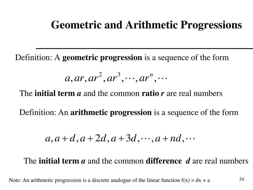 Geometric and Arithmetic Progressions