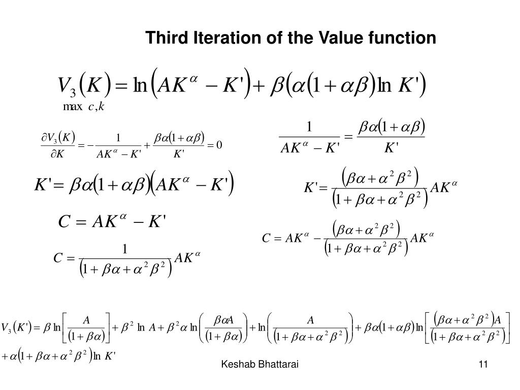 Third Iteration of the Value function