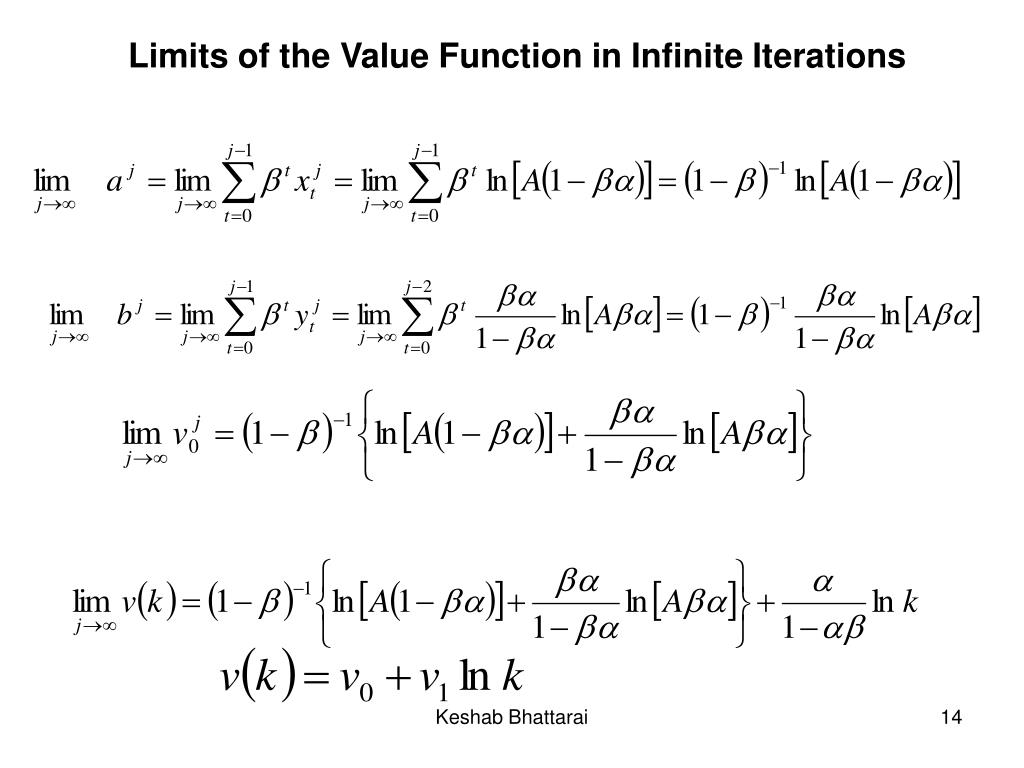 Limits of the Value Function in Infinite Iterations