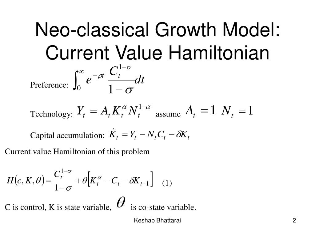 Neo-classical Growth Model: Current Value Hamiltonian
