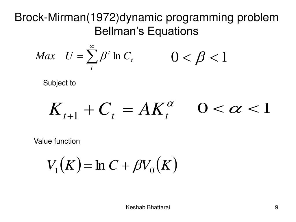 Brock-Mirman(1972)dynamic programming problem