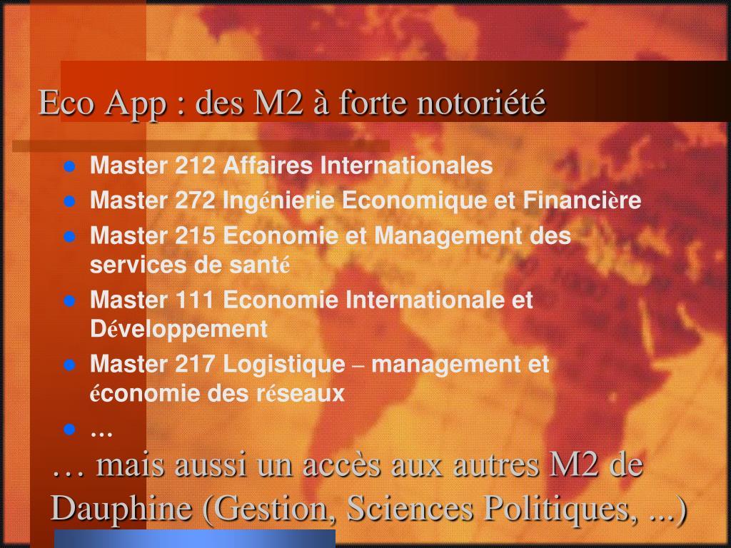 Eco App : des M2 à forte notoriété