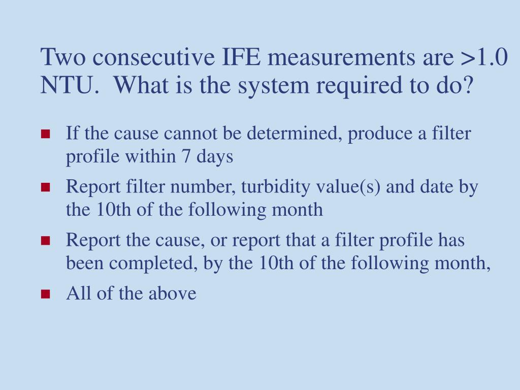 Two consecutive IFE measurements are >1.0 NTU.  What is the system required to do?
