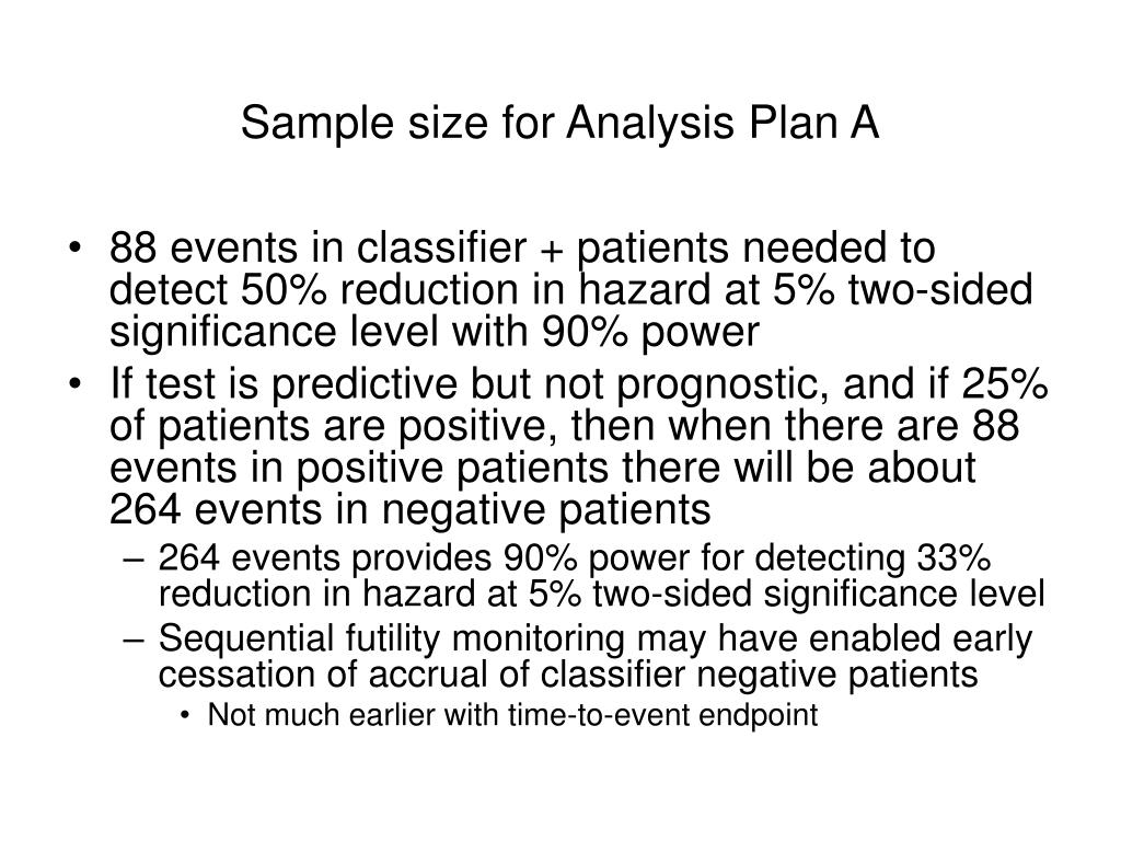 Sample size for Analysis Plan A