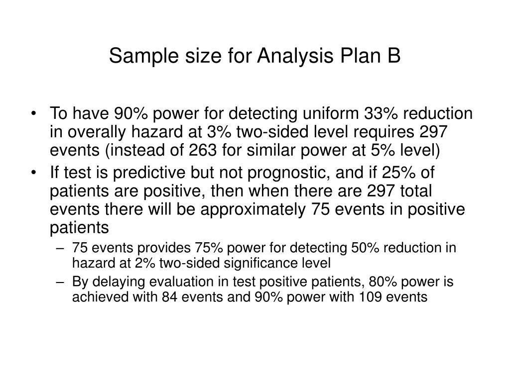 Sample size for Analysis Plan B
