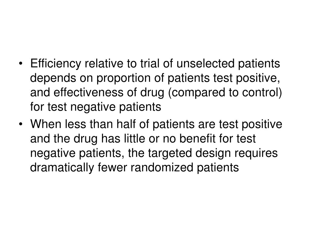 Efficiency relative to trial of unselected patients depends on proportion of patients test positive, and effectiveness of drug (compared to control) for test negative patients