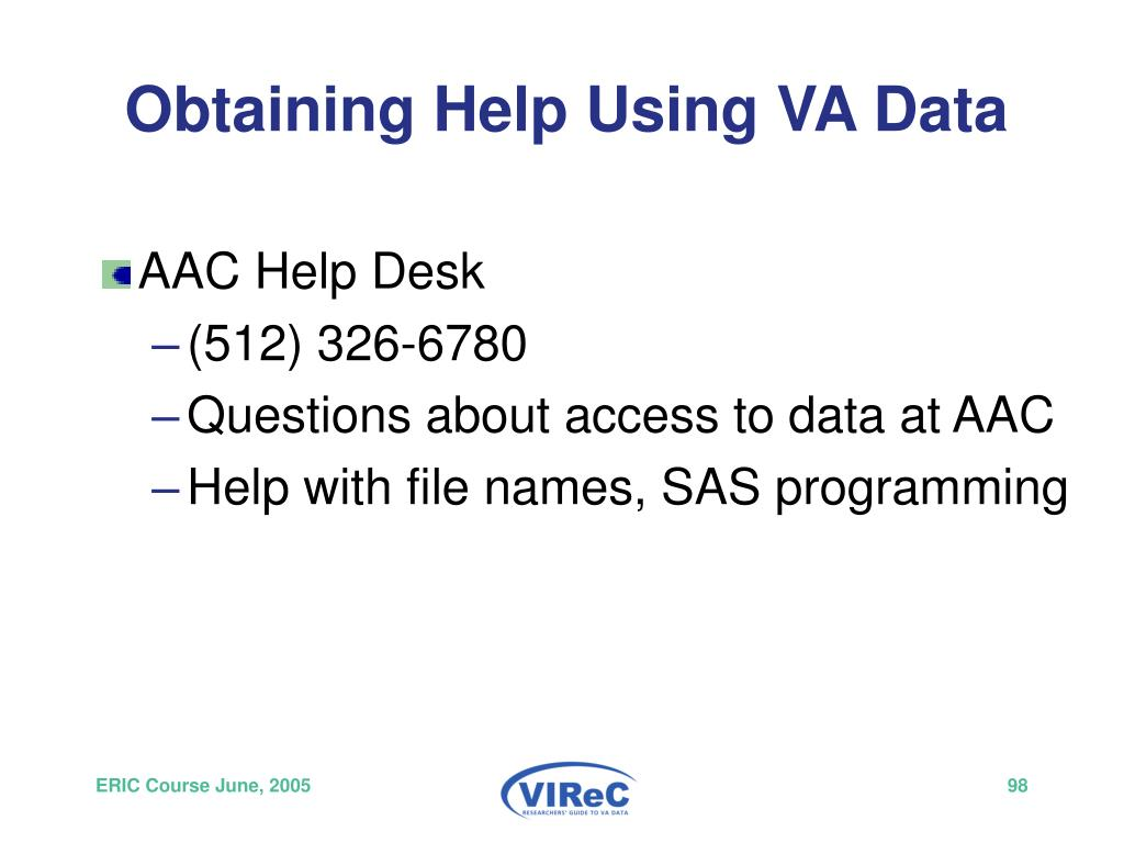 Obtaining Help Using VA Data