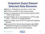 outpatient event dataset selected data elements