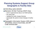 planning systems support group geographic facility data
