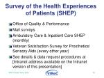 survey of the health experiences of patients shep