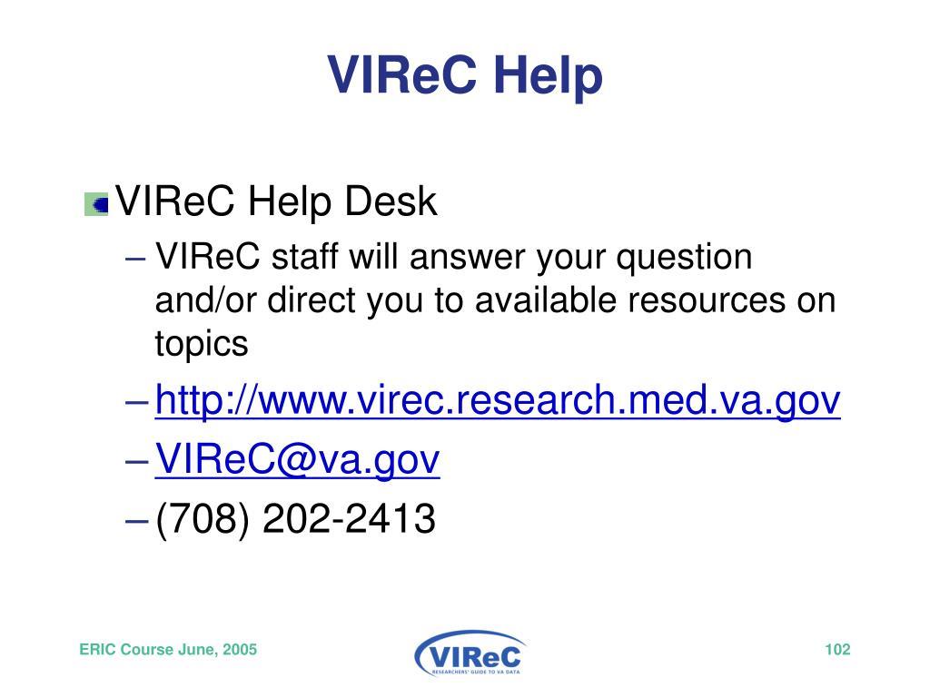 VIReC Help