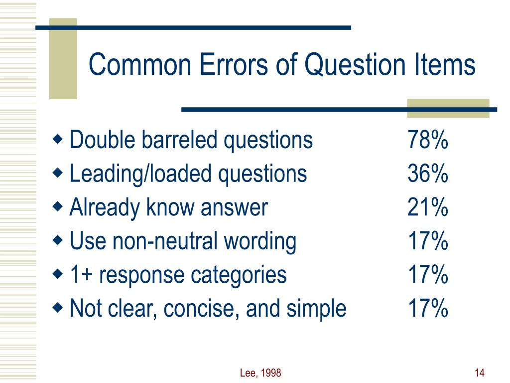 Common Errors of Question Items