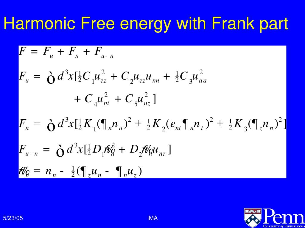 Harmonic Free energy with Frank part