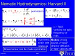 nematic hydrodynamics harvard ii