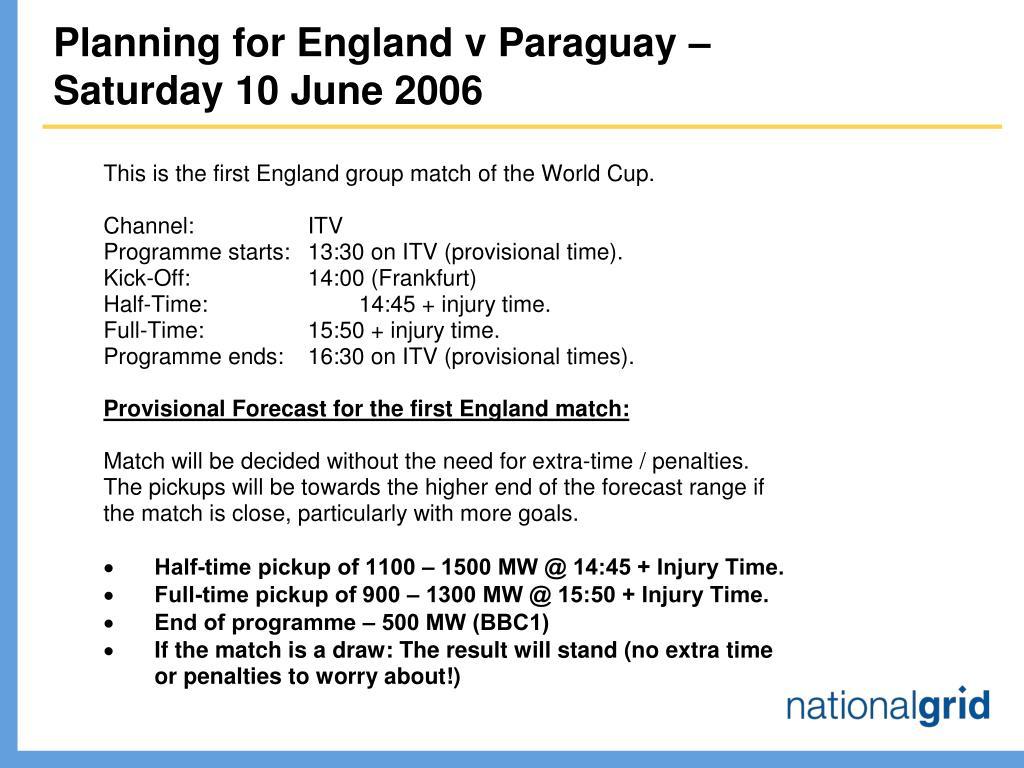 Planning for England v Paraguay –