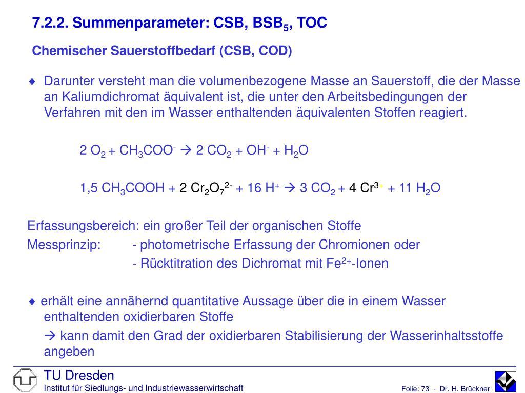 7.2.2. Summenparameter: CSB, BSB