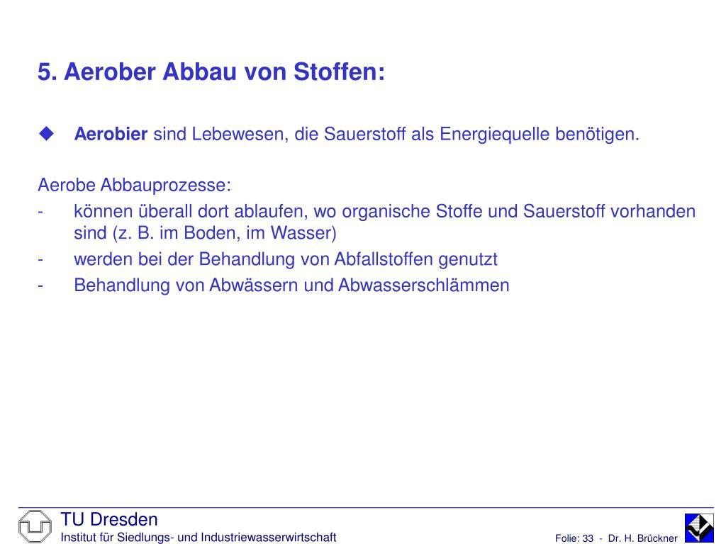 5. Aerober Abbau von Stoffen: