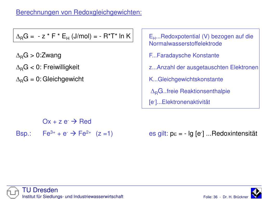 Berechnungen von Redoxgleichgewichten: