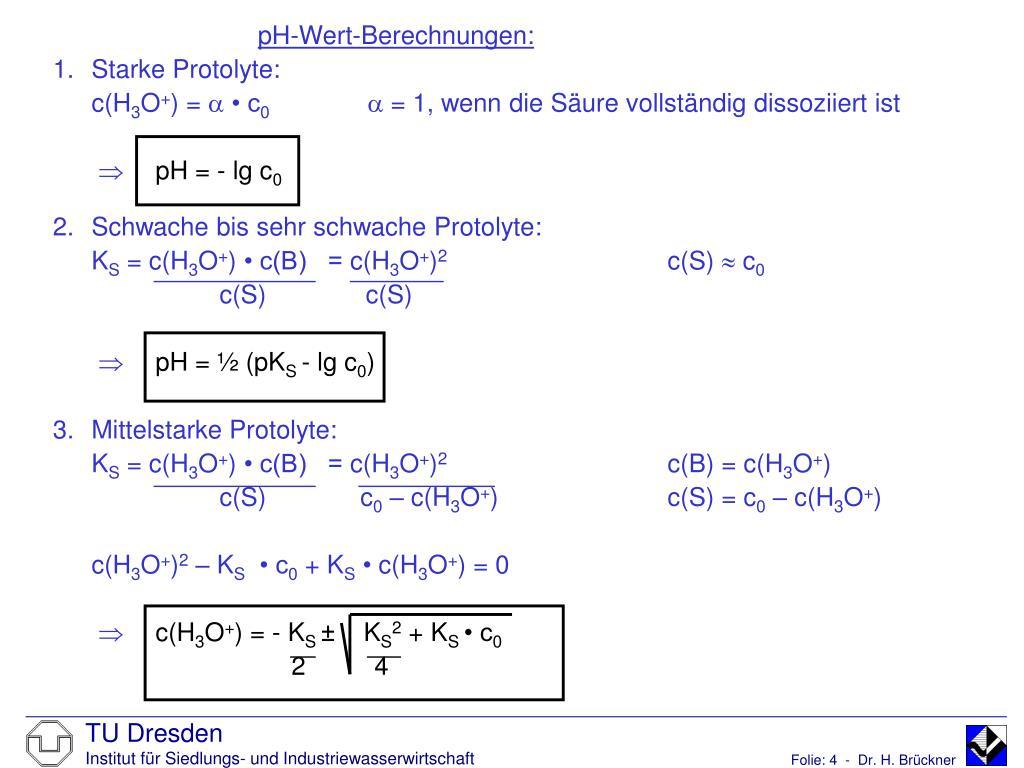 pH-Wert-Berechnungen: