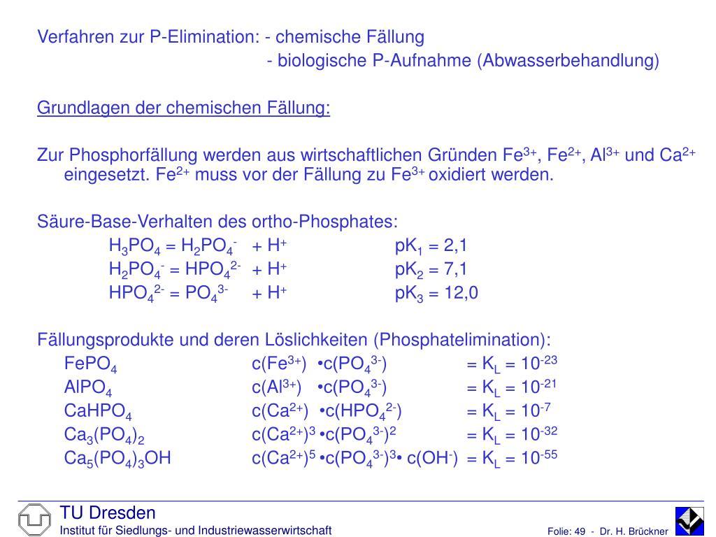 Verfahren zur P-Elimination: - chemische Fällung