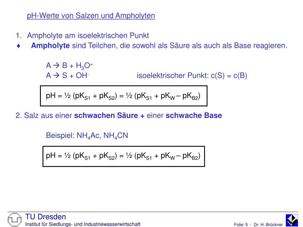 pH-Werte von Salzen und Ampholyten