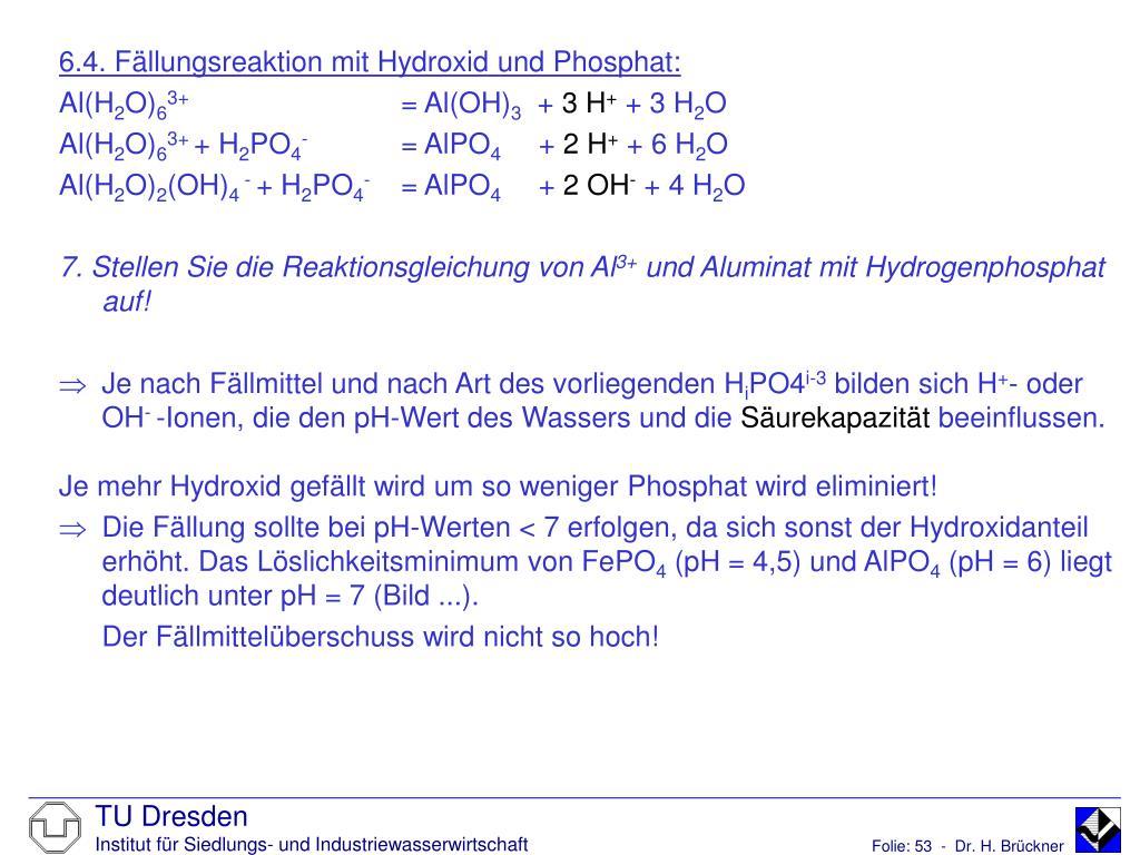 6.4. Fällungsreaktion mit Hydroxid und Phosphat: