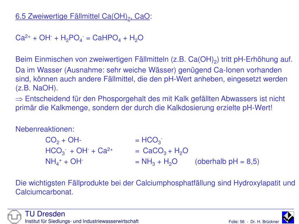 6.5 Zweiwertige Fällmittel Ca(OH)
