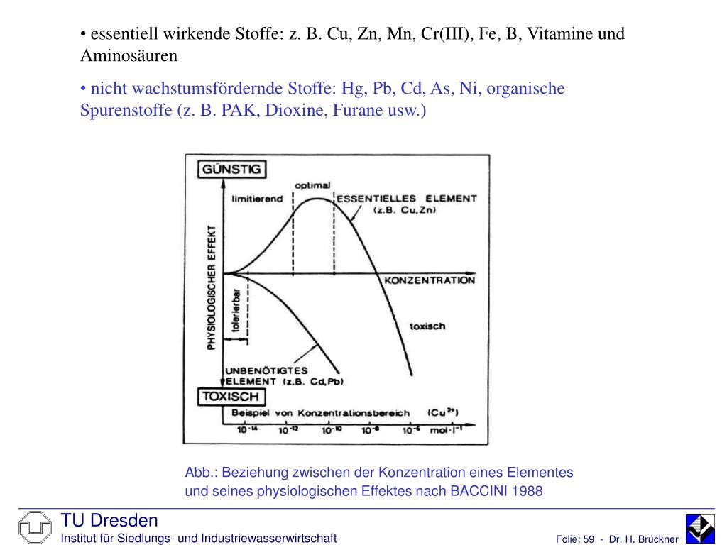 essentiell wirkende Stoffe: z. B. Cu, Zn, Mn, Cr(III), Fe, B, Vitamine und        Aminosäuren