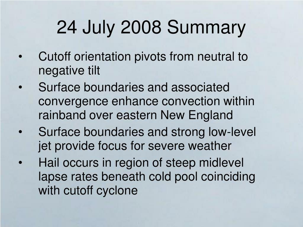 24 July 2008 Summary