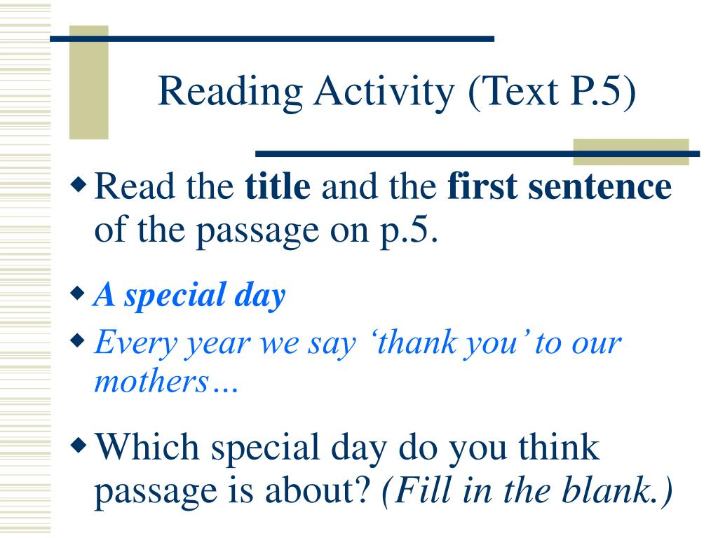 Reading Activity (Text P.5)