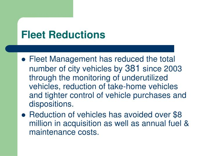 Fleet Reductions