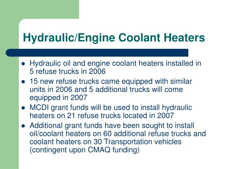 Hydraulic/Engine Coolant Heaters