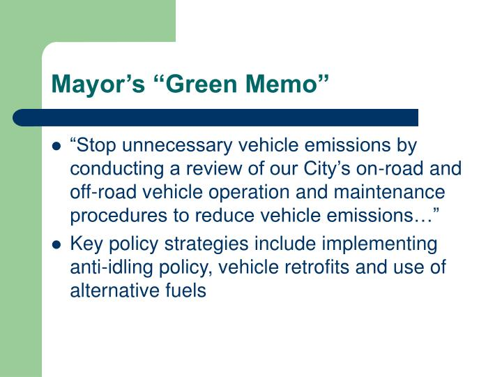 Mayor s green memo