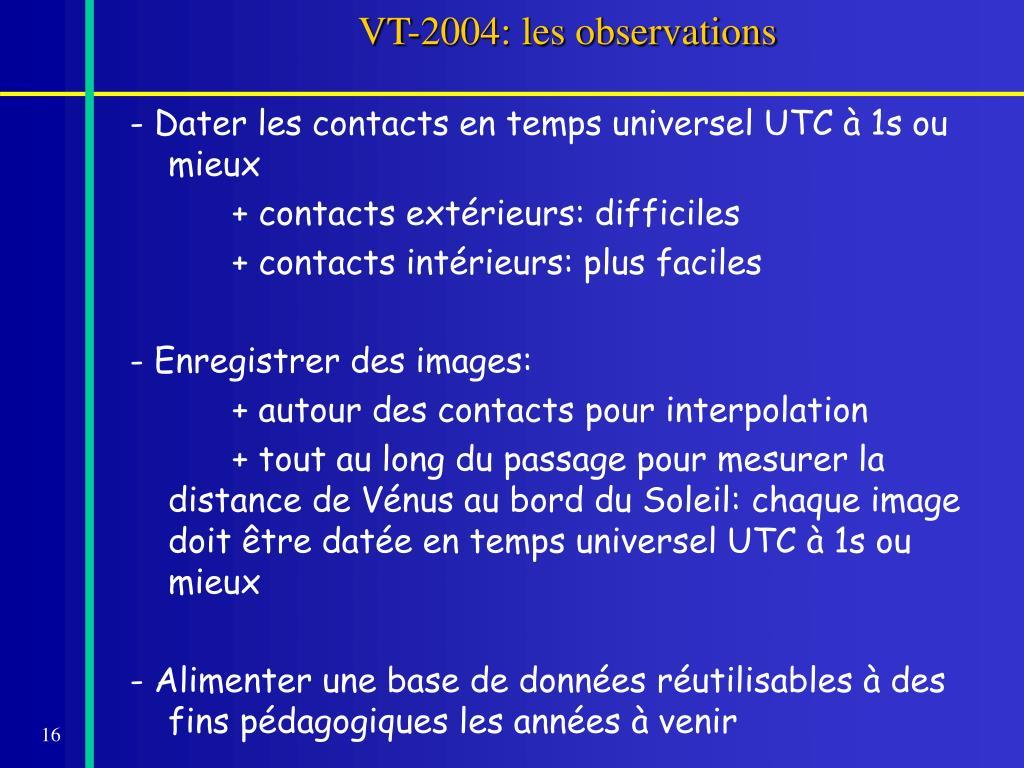 VT-2004: les observations