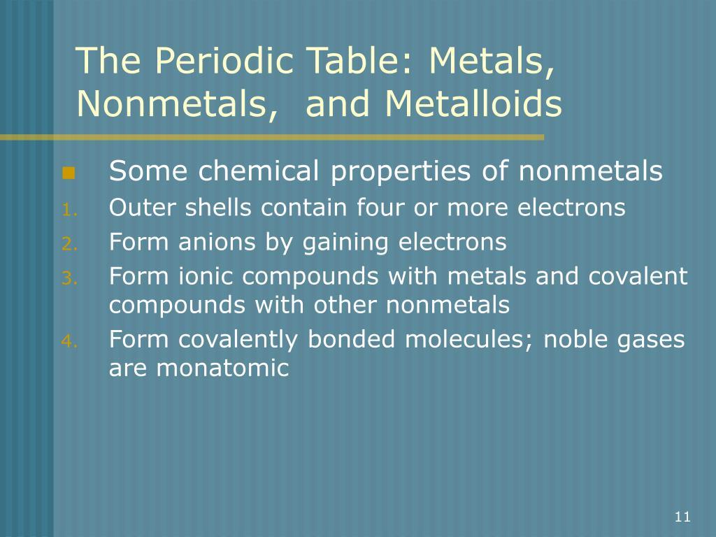 periodic table metals nonmetals metalloids pdf