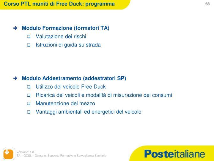 Corso PTL muniti di Free Duck: programma