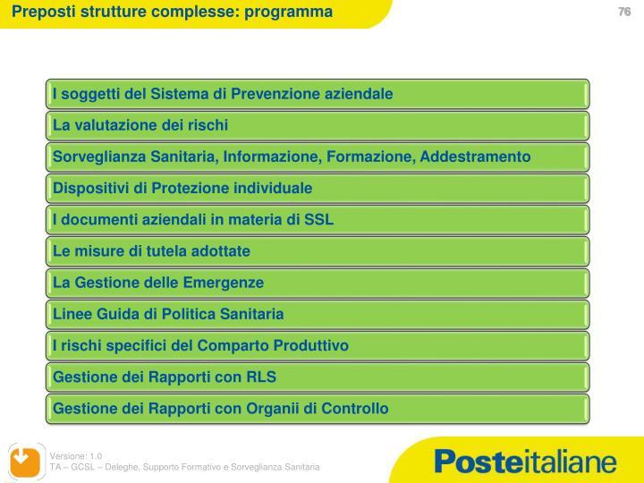 Preposti strutture complesse: programma